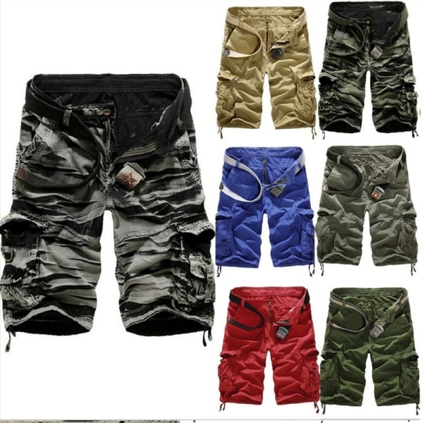 Man Cargo Shorts Military Combat Camo Green 32
