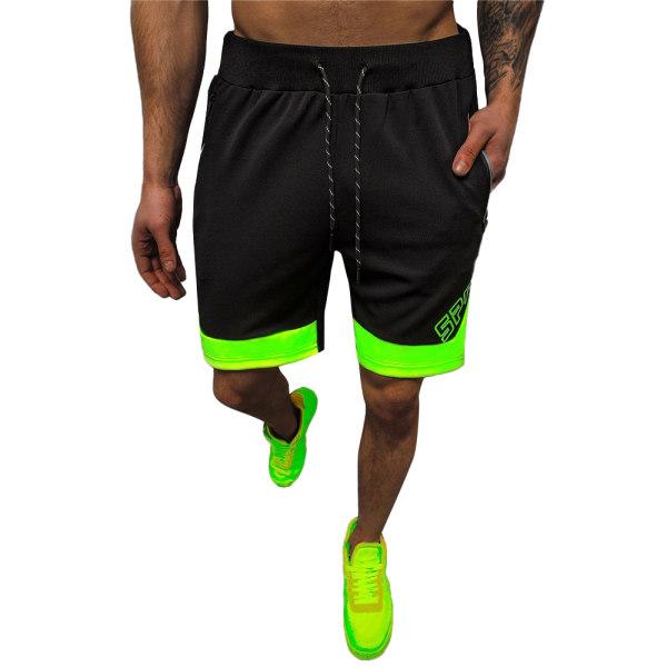 Män Casual bokstäver Kontrasterande färg Sportsshorts Joggingbyxor Black-green 3XL