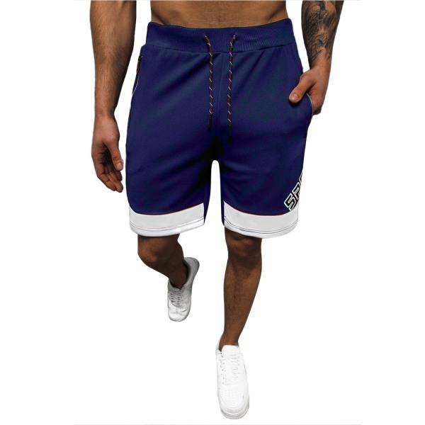 Män Casual bokstäver Kontrasterande färg Sportsshorts Joggingbyxor Black-white 3XL