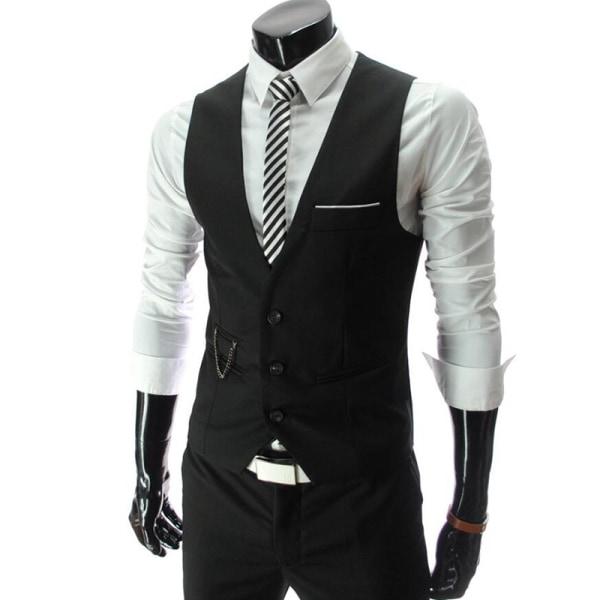 Herr kedjeknapp kostym västjacka kofta korta smala rockar Black XL