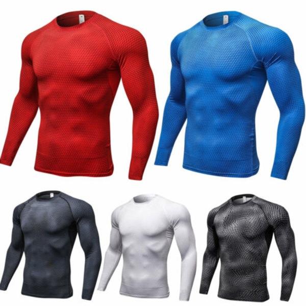 Män Kompression Långärmad Strech Snabbtorkande T-shirt Blue L
