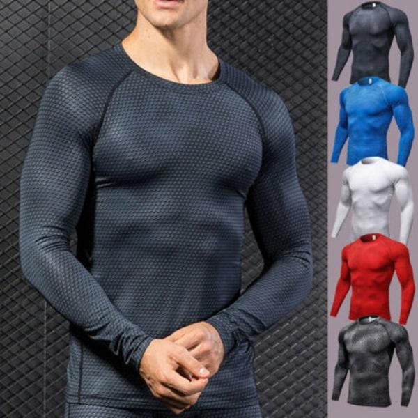 Män Kompression Långärmad Strech Snabbtorkande T-shirt Black Scales M