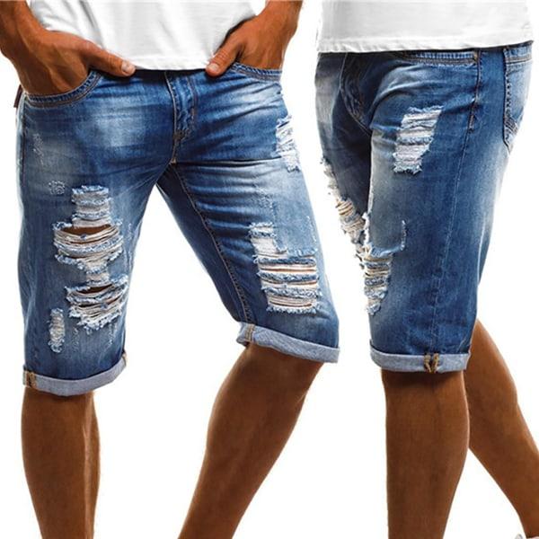 Herr Denim Cargo Torn Short Jeans Blue 2XL
