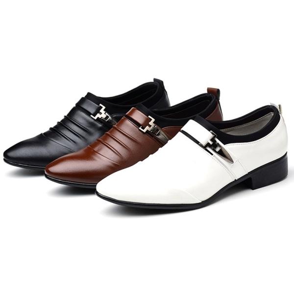 Mäns mode spetsiga formella skor spänne white 41