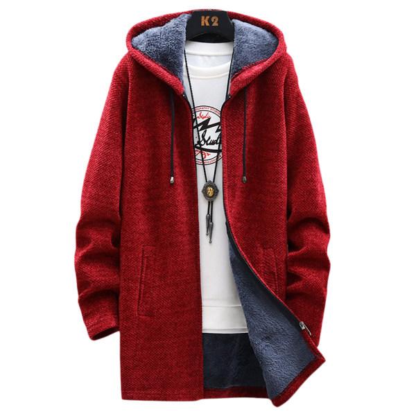 Herr Fleece långärmad luvtröja vinter varm casual jacka Wine Red 2XL