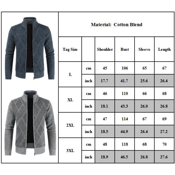Herr stickad tröja kofta kappa långärmad jacka tröja Dark Grey 3XL