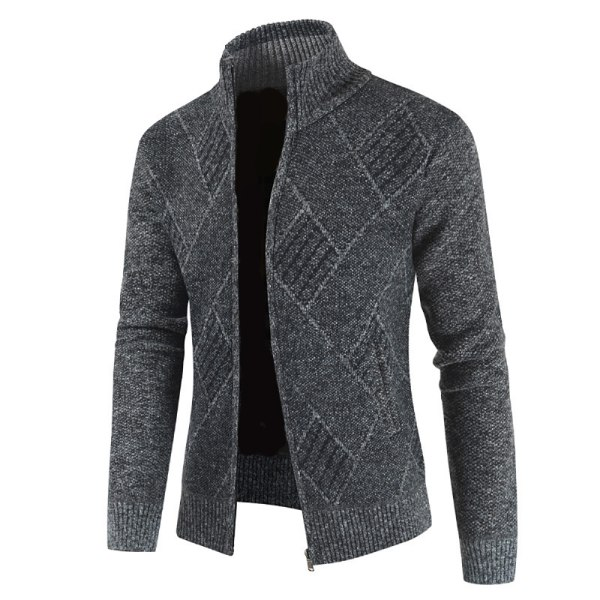 Herr stickad tröja kofta kappa långärmad jacka tröja Dark Grey L