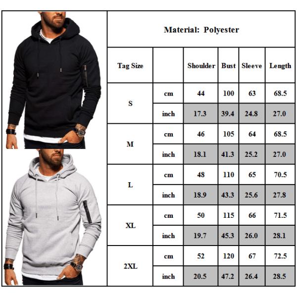 Män Långärmade Hoodies Sport Fit Sweatshirt Solid Pullover Toppar Green M
