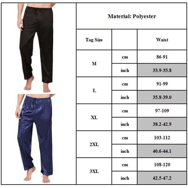 Herrlounge Lösa pyjamasbyxor inomhusbyxor Enfärgad Black 2XL