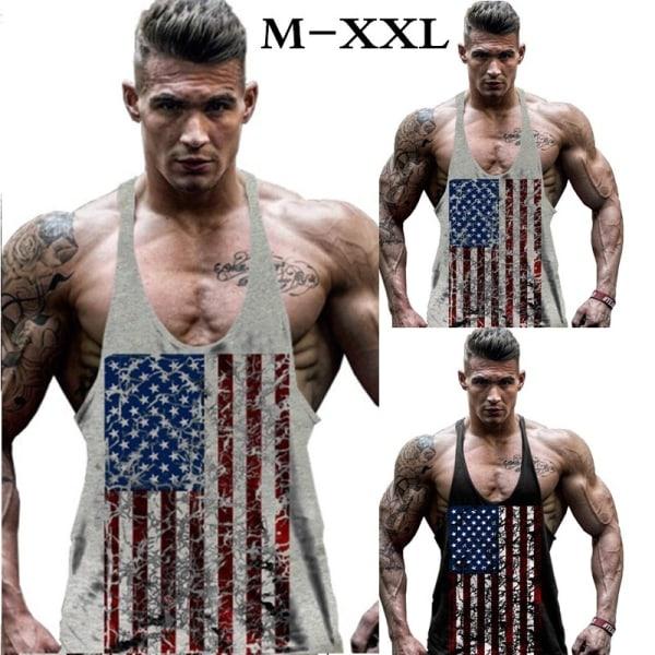 Ärmlös skjortväst för män i storlek American black XL