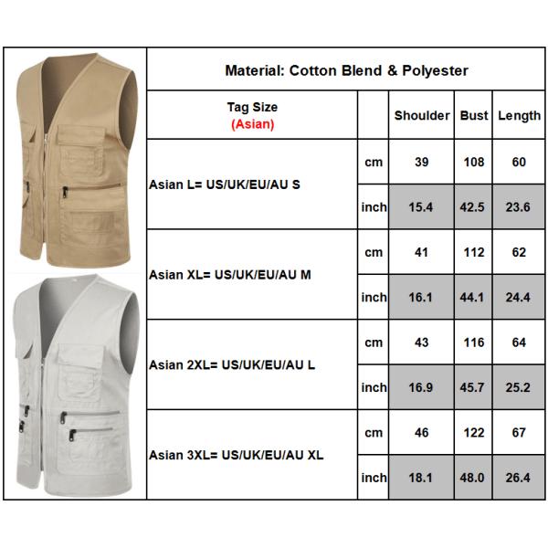Herr Pocket Zipper Fisherman Vest Jacket Casual Street Cool Coats Light gray 3XL