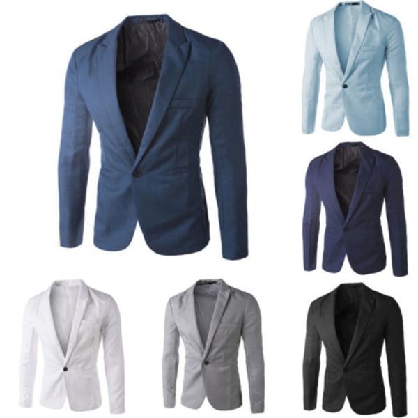 Män Professional Business Wear Suit Jacket Knappar Fickrockar sky blue 3XL