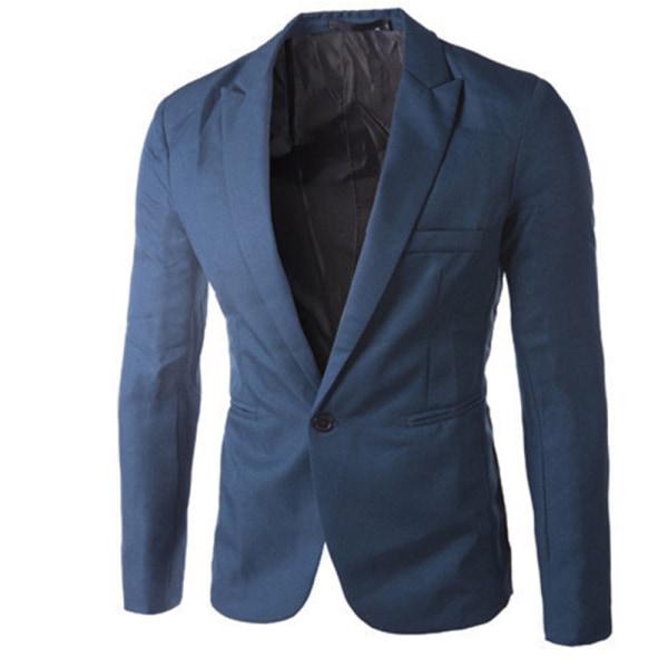 Män Professional Business Wear Suit Jacket Knappar Fickrockar Royal blue 2XL