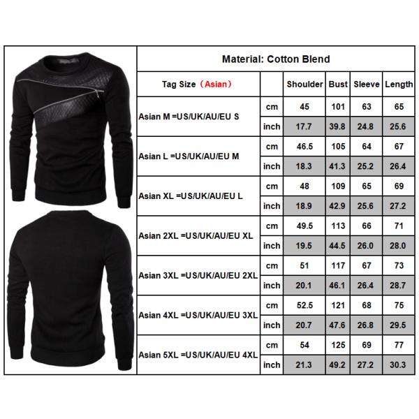 Herrtröja rund hals tröja långärmad bröst blixtlås design Black 2XL