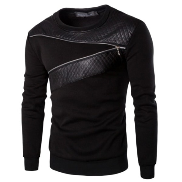 Herrtröja rund hals tröja långärmad bröst blixtlås design Black L