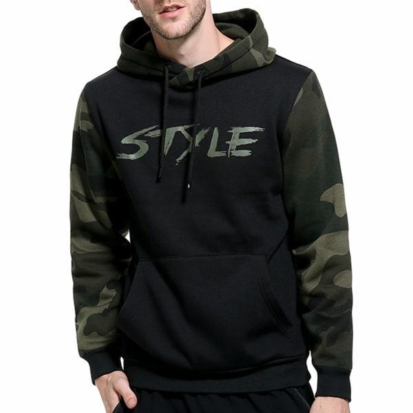 Mäns kamouflage Höst- och vinteravslappnad huvtröja Black 2XL