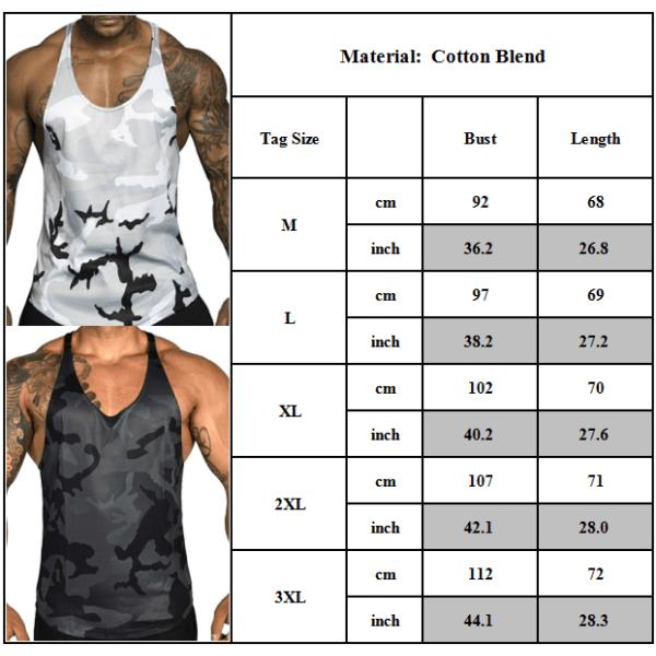 Mäns kamouflage gym singlet linne toppar träning muskel skjorta White 2XL