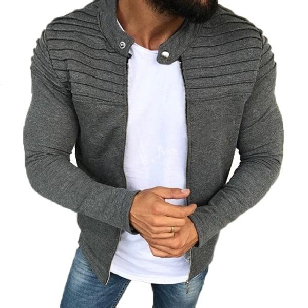 Mäns färgad randig veckad panel grey L