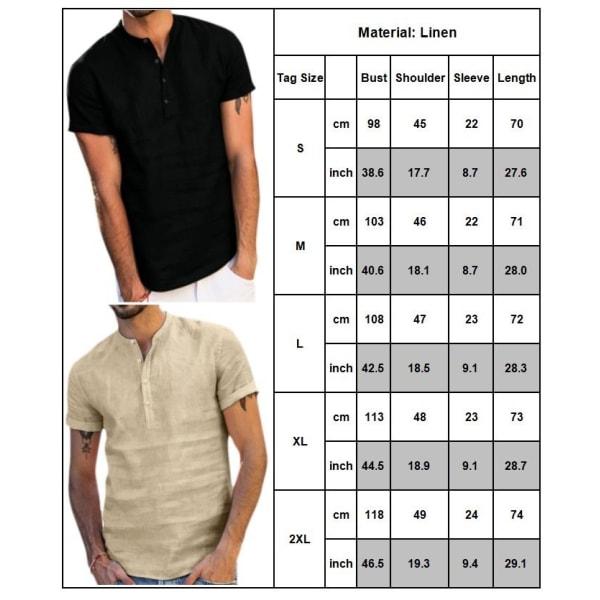 Herrkrage för sommarlinne för män, solid khaki M
