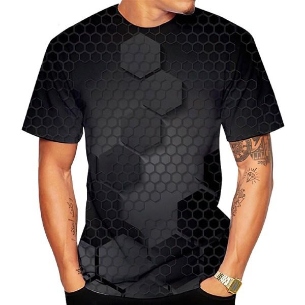 Kortärmad 3D-toppar för män Black 2XL