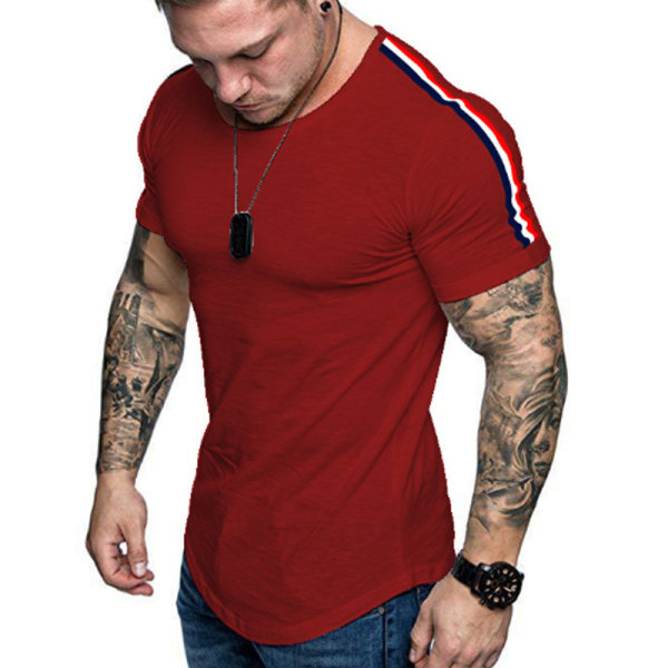Män Axelband Patch Slim Gym Tops Red M