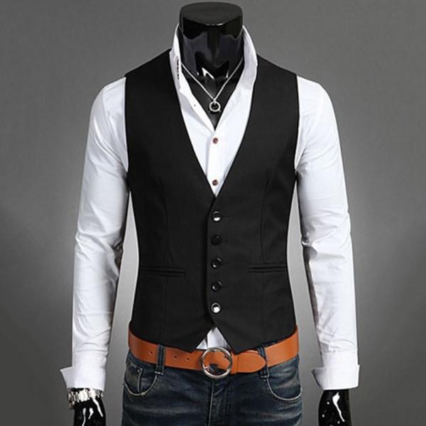 Herrdräkt Väst Bottonjacka Business Kort Slim Waistcoat black 2XL