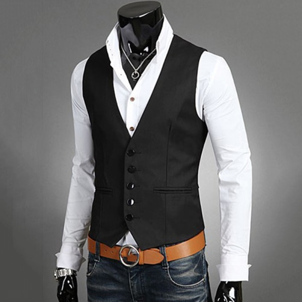 Herrdräkt Väst Bottonjacka Business Kort Slim Waistcoat black 4XL