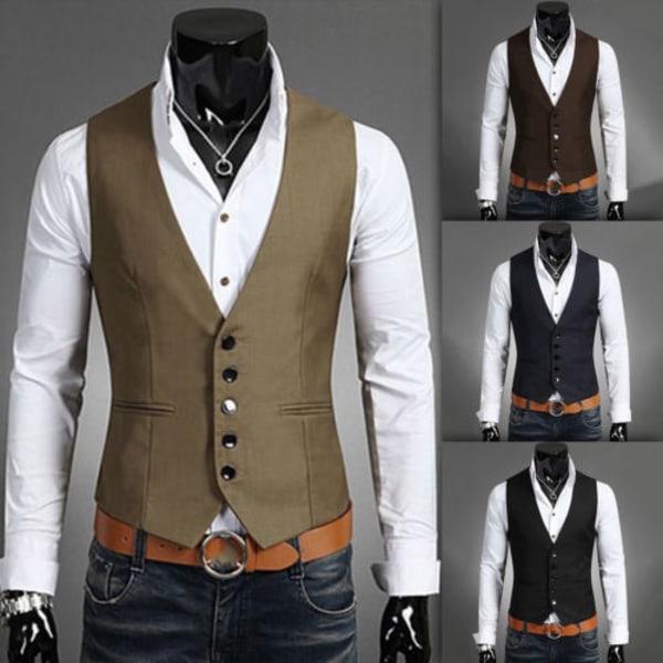 Herrdräkt Väst Bottonjacka Business Kort Slim Waistcoat black 3XL
