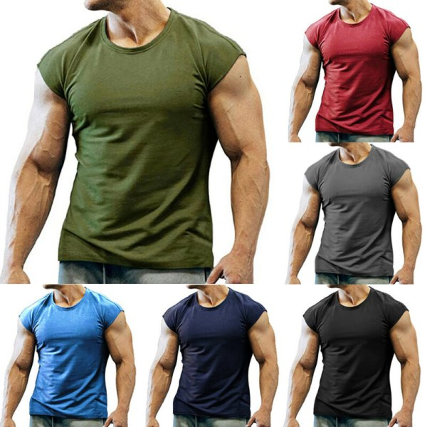 Mäns sommar linne ärmlös gym Fitness T-shirt väst Black M