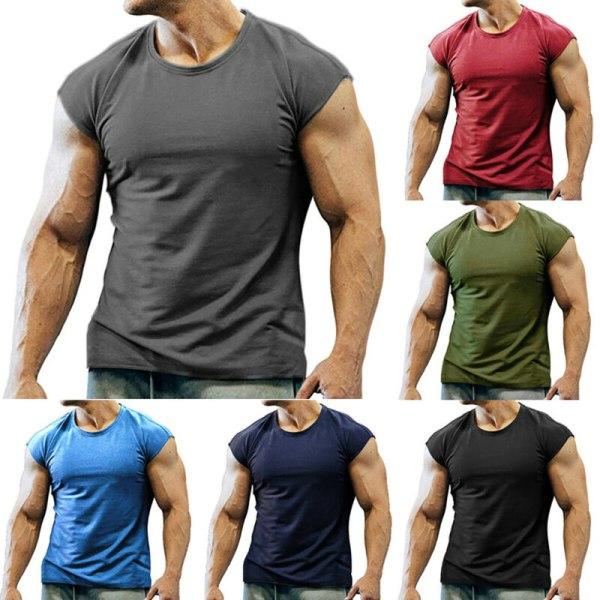 Mäns sommar linne ärmlös gym Fitness T-shirt väst Blue L