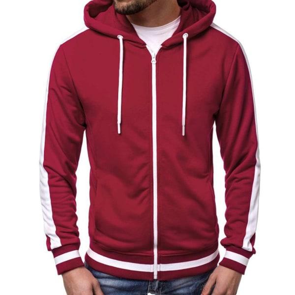 Herr Warm Hoodie Coat Långärmad jacka Sweatshirt Outwear Red 2XL