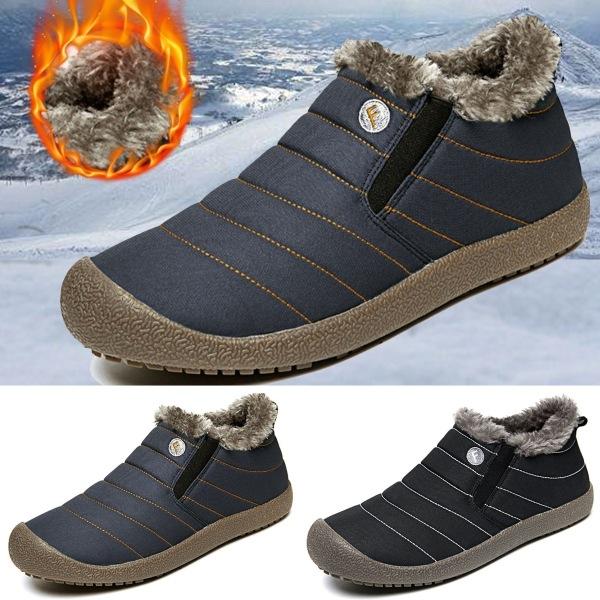 Män Vinter vindtäta snöstövlar Ankelpäls fodrade varma skor black 45