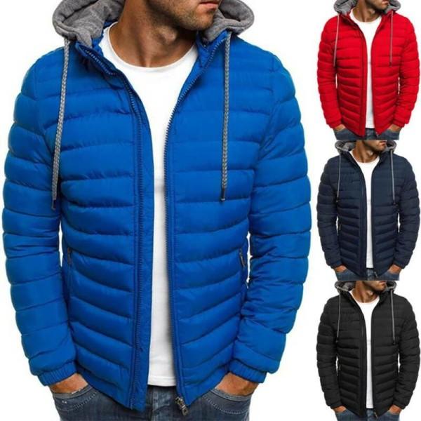 Herr vinter varm jacka kappa dragkedja Ytterkläder med huva Red Tag XL