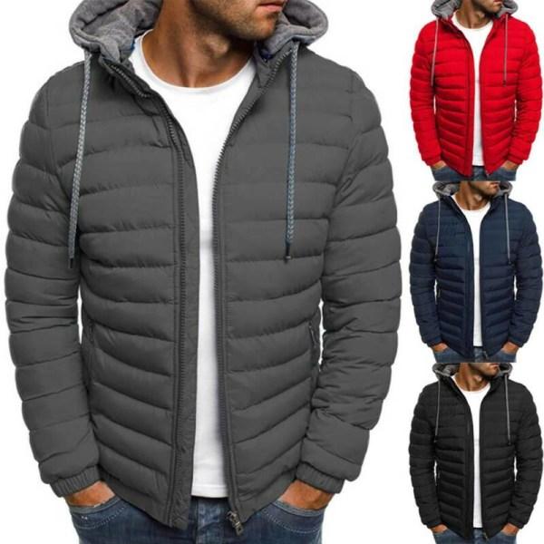 Herr vinter varm jacka kappa dragkedja Ytterkläder med huva Grey Tag S