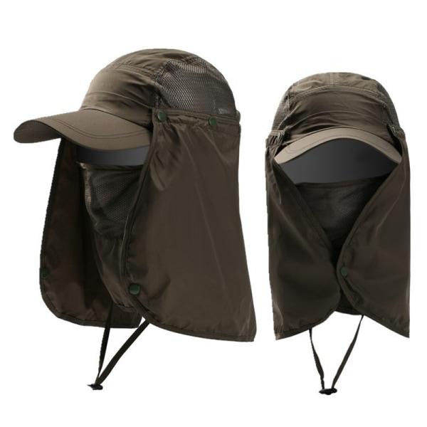 Män Kvinnor Snygg Mesh Fisherman Hat Justerbar dragsko Army green