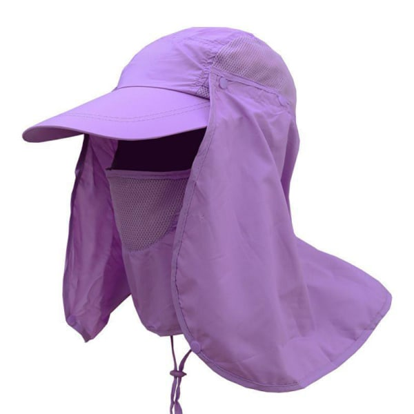 Män Kvinnor Snygg Mesh Fisherman Hat Justerbar dragsko Purple