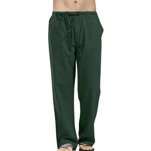 Bekväma strandbyxor för män som är avslappnad sommarlounge Dark Green 5XL