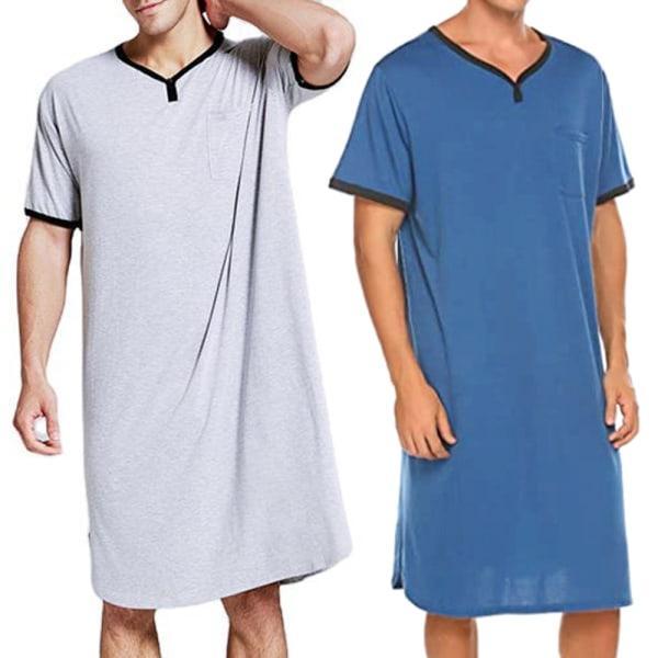 Herr Comfy Loose Nightwear Long Tops Kortärmad Pyjamas Blue XL