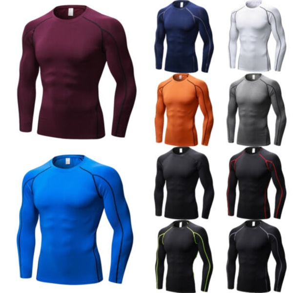 Mens Compression Jersey Tee Base Layer Långärmade Tight Tops Blue S