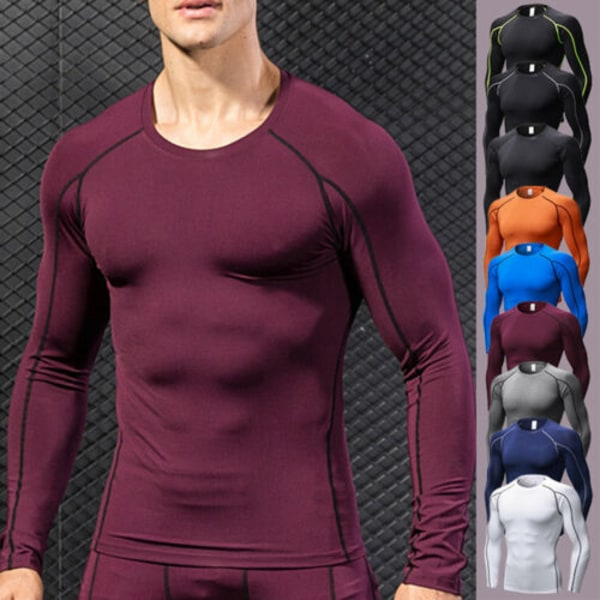 Mens Compression Jersey Tee Base Layer Långärmade Tight Tops White 2XL