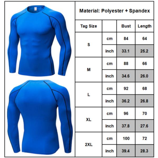 Mens Compression Jersey Tee Base Layer Långärmade Tight Tops Blue L