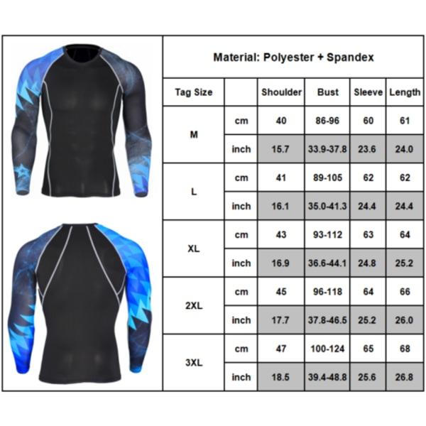 Mens Gym Sport Långärmad kompressionsträning Snabbtorkande toppar As pics-5 L