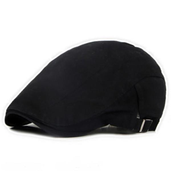 Snygg tunn Newsboy hattknapp Justerbar enfärgad herr Black