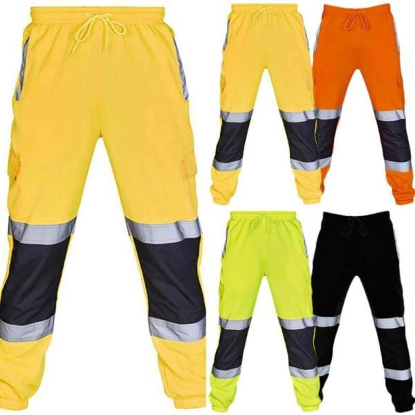 Mens Hi Viz Vis Work Joggers Träningsbyxa Träningsbyxor Yellow 2XL
