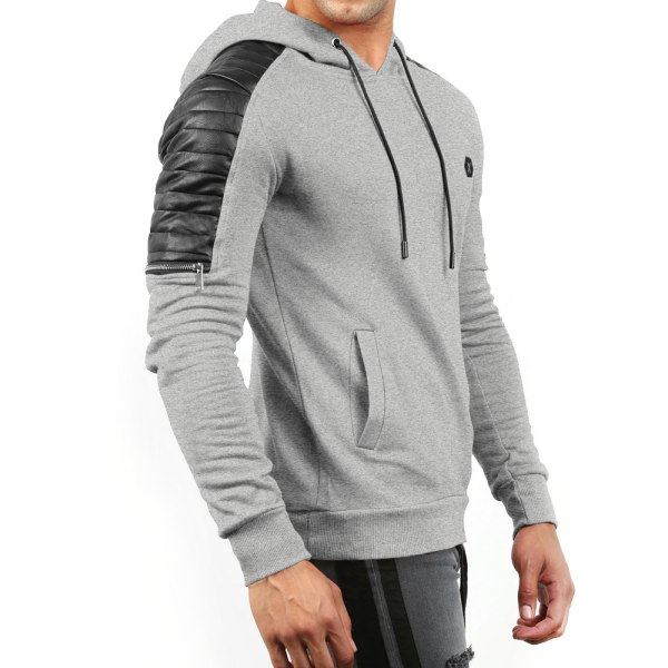 Mens långärmad luvtröja tröja vinter varm tröja Light Grey XL