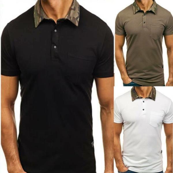 Pikétröjor för män Muscle Kortärmad T-shirt Fitness Gym Tops White L