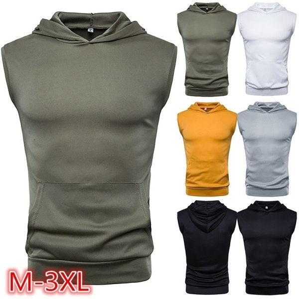 Mens Solid Color Muscle Hoodie Tank Top yellow 3XL
