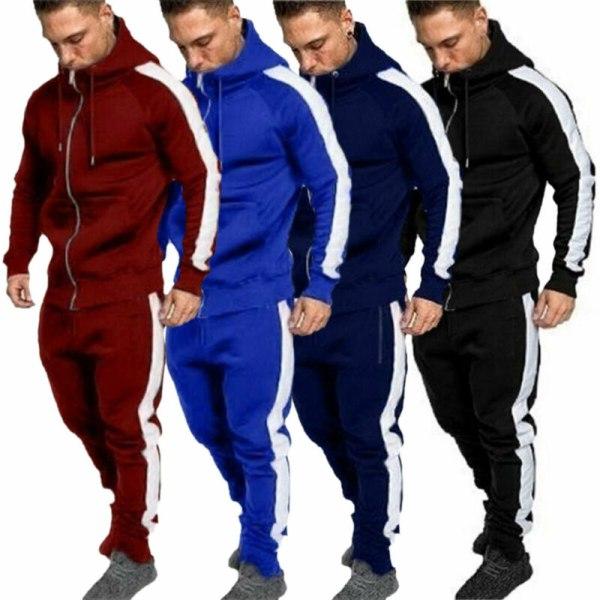 Mens Sports Gym Träningsdrag Set Hooded Fitness Jogging Byxor Dark Blue XL