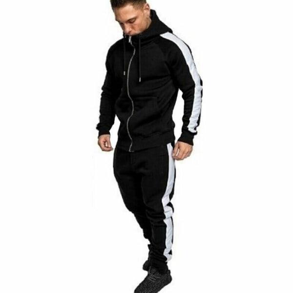 Mens Sports Gym Träningsdrag Set Hooded Fitness Jogging Byxor Dark Blue L