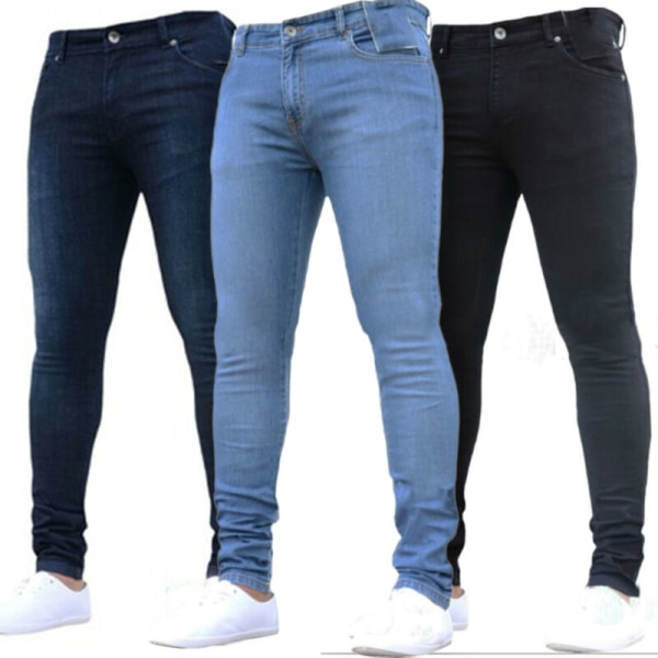 Mens tvättade jeans med rak ben Slim Fit Skinny Byxor Byxor Black M